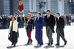 (L to R) Margarita Robles, Margarita Robles, Minister of Defense and Minister of Foreign Affairs; Queen Letizia of Spain; Pedro Sanchez, President of the Government of Spain and Fernando Grande-Marlaska, Minister of the Interior attend the New Year Military parade 2020 celebration at the Royal Palace. January 6,2020. (ALTERPHOTOS/Pool)