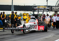 Jul 19, 2020; Clermont, Indiana, USA; NHRA top fuel driver T.J. Zizzo during the Summernationals at Lucas Oil Raceway. Mandatory Credit: Mark J. Rebilas-USA TODAY Sports