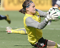 Erin McLeod #18 of Washington Freedom makes a save during a WPS match against Chicago Red Stars at RFK Stadium on June 13 2009, in Washington D.C. The game ended in a 0-0 tie.