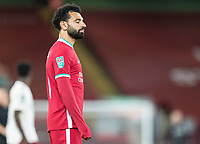 1st October 2020; Anfield, Liverpool, Merseyside, England; English Football League Cup, Carabao Cup, Liverpool versus Arsenal; Mohammed Salah of Liverpool closes his eyes as Liverpool are unable to break through Arsenal's defence