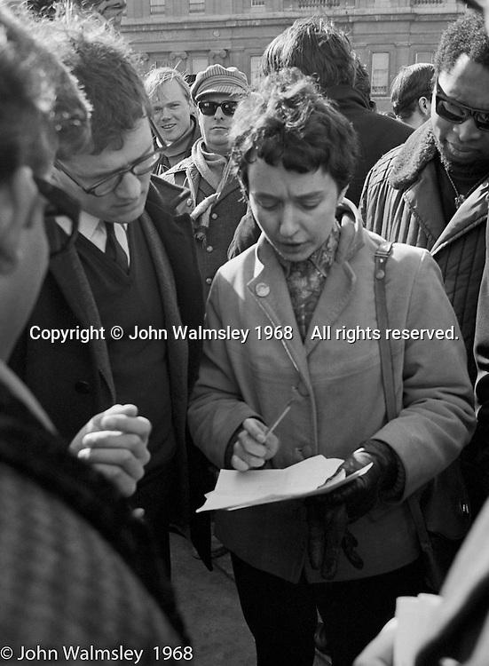 Orgabisers make last minute adjustments to plans, anti-Vietnam war demonstration march from Trafalgar Sq to Grosvenor Sq Sunday 17th March 1968.