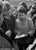 Orgabisers make last minute adjustments to plans, anti-Vietnam war demonstration march from Trafalgar Sq to Grosvenor Sq Sunday 17th March 1968.