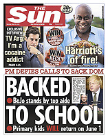 The Sun newspaper Front page reporting on Prime Minister's TV Address to the Nation. May 25th 2020