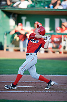 Brandon Sandoval (7) of the Orem Owlz bats against the Ogden Raptors in Pioneer League action at Lindquist Field on June 21, 2017 in Ogden, Utah. The Owlz defeated the Raptors 16-5. This was Opening Night at home for the Raptors.  (Stephen Smith/Four Seam Images)