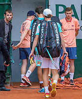 Paris, France, 01 June, 2018, Tennis, French Open, Roland Garros, Men's doubles: Matwe Middelkoop and Robin Haase (NED) leaving the court becouse of the rain<br /> Photo: Henk Koster/tennisimages.com