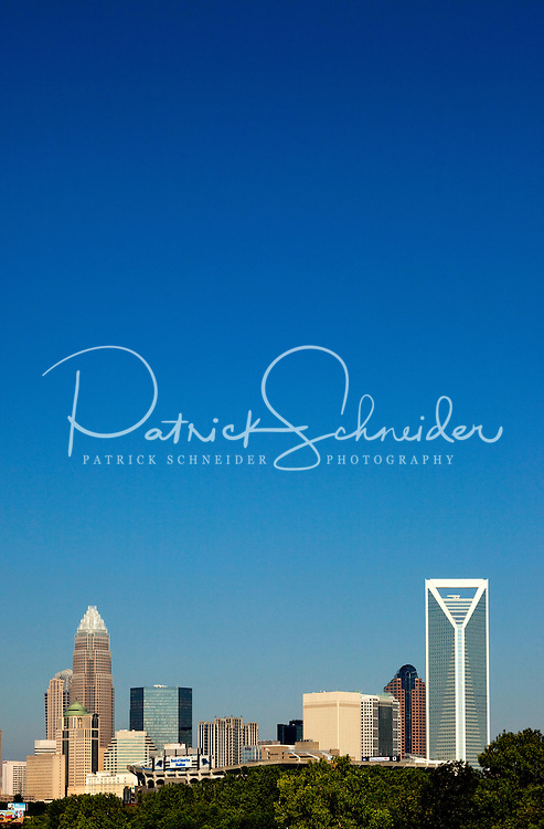 The Charlotte skyline, taken in July 2010. Charlotte stock photographer Patrick Schneider has hundreds of Charlotte skyline photos taken in different seasons and from a variety of angles.