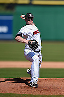 Louisville Cardinals pitcher Brendan McKay (38) delivers a pitch during a game against the Cal State Fullerton Titans on February 15, 2015 at Bright House Field in Clearwater, Florida.  Cal State Fullerton defeated Louisville 8-6.  (Mike Janes/Four Seam Images)