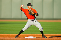 Frederick Keys second baseman Jerome Peña (2) turns a double play against the Winston-Salem Dash at BB&T Ballpark on May 28, 2013 in Winston-Salem, North Carolina.  The Dash defeated the Keys 17-5 in the first game of a double-header.  (Brian Westerholt/Four Seam Images)
