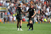 Gareth Steenson commiserates with team mate Jack Nowell of Exeter Chiefs after losing the Aviva Premiership Rugby Final between Exeter Chiefs and Saracens at Twickenham Stadium on Saturday 26th May 2018 (Photo by Rob Munro/Stewart Communications)