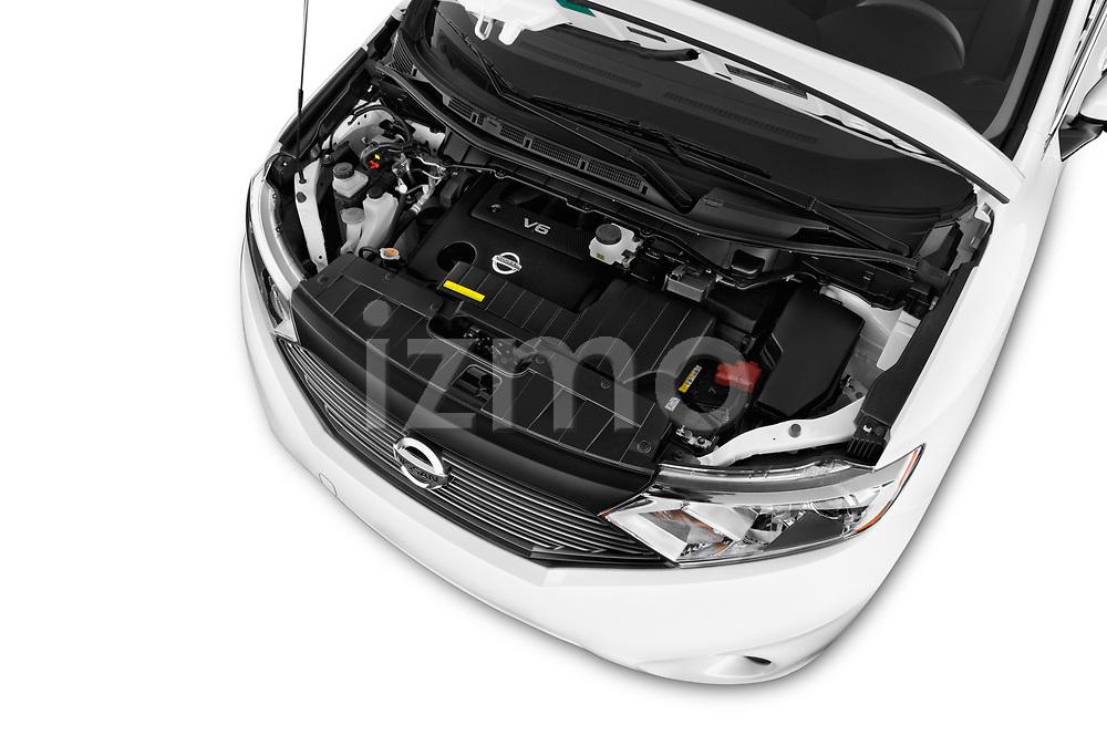 Car Stock 2017 Nissan Quest S 5 Door Minivan Engine  high angle detail view
