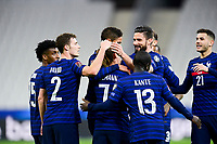 24th March 2021; Stade De France, Saint-Denis, Paris, France. FIFA World Cup 2022 qualification football; France versus Ukraine;  French players celebrate with scorer GRIEZMANN ANTOINE (France)