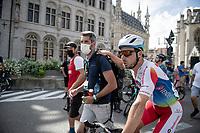 race winner Niccolò Bonifazio (ITA/TotalEnergies) post-race<br /> <br /> 55th Grote Prijs Jef Scherens - Rondom Leuven 2021 (BEL)<br /> <br /> One day race from Leuven to Leuven (190km)<br /> ridden over the final circuit of the 2021 World Championships road races <br /> <br /> ©kramon