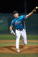 Mooresville Spinners relief pitcher Jack Fisher (4) (UNC Wilmington) in action against the Concord A's at Moor Park on July 31, 2020 in Mooresville, NC. The Spinners defeated the Athletics 6-3 in a game called after 6 innings due to rain. (Brian Westerholt/Four Seam Images)