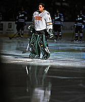 3 December 2011: University of Vermont Catamount John Vazzano, a Senior from Trumbull, CT, is introduced as the starting goaltender, making his first college career start against the University of Maine Black Bears at Gutterson Fieldhouse in Burlington, Vermont. The Catamounts fell to the Black Bears 5-2 in the second game of their 2-game Hockey East weekend series. Mandatory Credit: Ed Wolfstein Photo