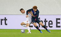 ST. GALLEN, SWITZERLAND - MAY 30: Xhaka #10 of Switzerland and Josh Sargent #9 of the United States battle for a loose ball during a game between Switzerland and USMNT at Kybunpark on May 30, 2021 in St. Gallen, Switzerland.
