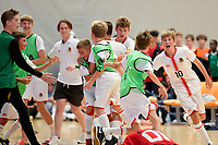 Hamilton Boys' High School celebrates after winning the Futsal NZ Secondary Schools Junior Boys Final between Hamilton Boys High School and Selwyn College at ASB Sports Centre, Wellington on 26 March 2021.<br /> Copyright photo: Masanori Udagawa /  www.photosport.nz