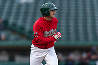 Fort Wayne TinCaps Nick Feight (2) runs to first base during a Midwest League game against the Fort Wayne TinCaps at Parkview Field on April 30, 2019 in Fort Wayne, Indiana. Kane County defeated Fort Wayne 7-4. (Zachary Lucy/Four Seam Images)