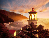 Heceta Lighthouse with clouds and fog. Devil's Elbow State Park,Oregon.