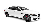 White 2016 Jaguar XF S Luxury Sport sedan, luxury car isolated on white background with clipping path Image © MaximImages, License at https://www.maximimages.com