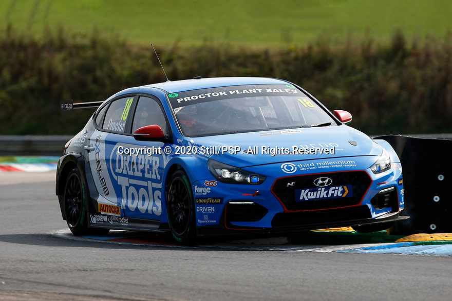 Round 5 of the 2020 British Touring Car Championship. #18 Senna Proctor. Excelr8 Motorsport. Hyundai i30N