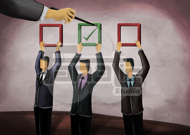 Illustrative image of businessman's hand selecting appropriate candidate