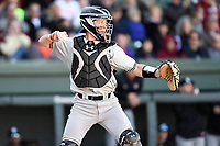 Catcher Taylor Hunter (38) of the South Carolina Gamecocks in the Reedy River Rivalry game against the Clemson Tigers on Saturday, March 3, 2018, at Fluor Field at the West End in Greenville, South Carolina. Clemson won, 5-1. (Tom Priddy/Four Seam Images)
