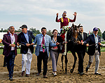 SARATOGA SPRINGS, NY - AUGUST 25: Javier Castellano celebrates his sixth Travers win, this one riding Catholic Boy, #11, on Travers Stakes Day at Saratoga Race Course on August 25, 2018 in Saratoga Springs, New York. (Photo by Sue Kawczynski/Eclipse Sportswire/Getty Images)