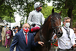 August 15, 2021, Deauville (France) - Palace Pier (#1) with Lanfranco Dettori abroad after winning the Prix du Haras de Fresnay-Le-Buffard Jaques Le Marois (Gr I) at Deauville-La Touques Racecourse on August 15 in Deauville. [Copyright (c) Sandra Scherning/Eclipse Sportswire)]