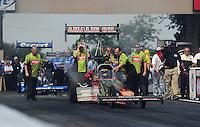 Jul, 10, 2011; Joliet, IL, USA: NHRA top fuel dragster crew members for driver Terry McMillen during the Route 66 Nationals at Route 66 Raceway. Mandatory Credit: Mark J. Rebilas-