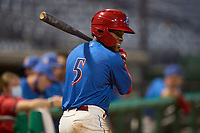 Clearwater Threshers Luis García (5) on deck during a game against the Lakeland Flying Tigers on May 5, 2021 at BayCare Ballpark in Clearwater, Florida.  (Mike Janes/Four Seam Images)
