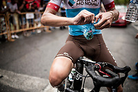 Silvan Dillier (SUI/AG2R-La Mondiale) & his measured pack of Haribo's (candy) at the finish<br /> <br /> Stage 8: Valls to Igualada (167km)<br /> La Vuelta 2019<br /> <br /> ©kramon