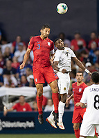 KANSAS CITY, KS - JUNE 26: Omar Gonzalez #3 and Jose Fajardo #17 go up for a header during a game between United States and Panama at Children's Mercy Park on June 26, 2019 in Kansas City, Kansas.