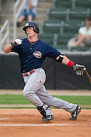 Greenville catcher Jon Still (29) follows through on his swing versus Kannapolis at Fieldcrest Canon Stadium in Kannapolis, NC, Monday, June 11, 2007.  The Drive no-hit the Intimidators in a game shortened to 6 innings by rain.