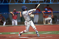 Jeremy Simpson (9) (Catawba) of the High Point-Thomasville HiToms follows through on his swing against the Old North State League West All-Stars at Hooker Field on July 11, 2020 in Martinsville, VA. The HiToms defeated the Old North State League West All-Stars 12-10. (Brian Westerholt/Four Seam Images)