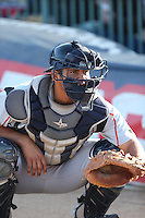 Adolfo Reina (21) of the Lake Elsinore Storm catches in the bullpen before a game against the Lancaster JetHawks at The Hanger on May 9, 2015 in Lancaster, California. Lancaster defeated Lake Elsinore, 3-1. (Larry Goren/Four Seam Images)
