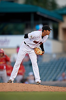 Jupiter Hammerheads relief pitcher Jorgan Cavanerio (18) looks in for the sign during a game against the Palm Beach Cardinals on August 4, 2018 at Roger Dean Chevrolet Stadium in Jupiter, Florida.  Palm Beach defeated Jupiter 7-6.  (Mike Janes/Four Seam Images)