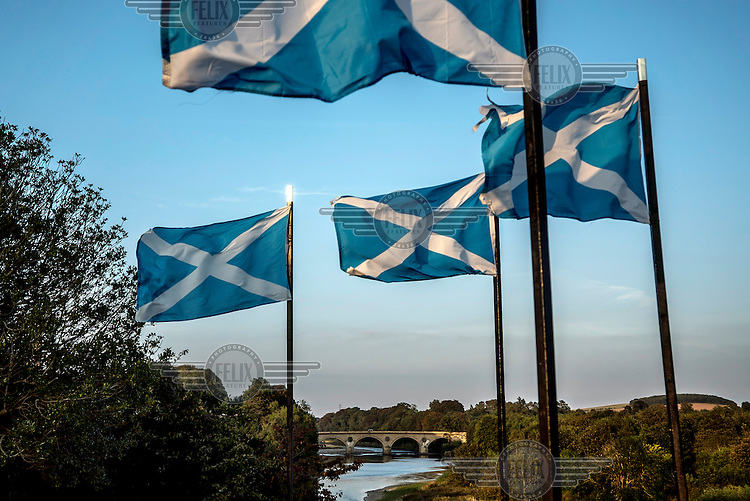 Scottish Saltire flags fly over the river Tweed. The waterway forms the border between England and Scotland.