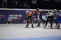 SPEEDSKATING: DORDRECHT: 07-03-2021, ISU World Short Track Speedskating Championships, Final A 5000m Relay, Sjinkie Knegt (NED), Daan Breeuwsma (NED), (HUN), ©photo Martin de Jong