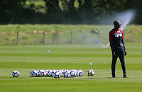 Pictured: Assistant coach Claude Makelele watches the players train. Wednesday 05 July 2017<br /> Re: Swansea City FC training at Fairwood training ground, UK