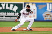 Erie Seawolves shortstop Harold Castro (1) takes a throw during a game against the Richmond Flying Squirrels on May 19, 2015 at Jerry Uht Park in Erie, Pennsylvania.  Richmond defeated Erie 8-5.  (Mike Janes/Four Seam Images)