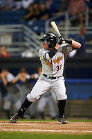 West Virginia Black Bears second baseman Mitchell Tolman (37) at bat during a game against the Batavia Muckdogs on August 31, 2015 at Dwyer Stadium in Batavia, New York.  Batavia defeated West Virginia 5-4.  (Mike Janes/Four Seam Images)