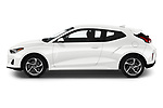 Car driver side profile view of a 2019 Hyundai Veloster Base 3 Door Hatchback