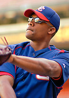 13 June 2006: Jose Guillen, outfielder for the Washington Nationals, warms up prior to a game against the Colorado Rockies at RFK Stadium, in Washington, DC. The Rockies defeated the Nationals 9-2 in the second game of the four-game series...Mandatory Photo Credit: Ed Wolfstein Photo..