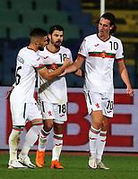 3rd September 2020, Sofia, Bulgaria;  Bulgaria versus Republic of Ireland Uefa Nations League B/Group 4; Kristiyan Malinov, Galin Ivanov and Bozhidar Kraev of Bulgaria celebrate their goal