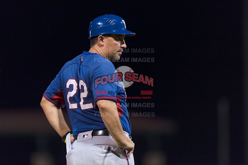 AZL Rangers manager Matt Siegel (22) during an Arizona League game against the AZL Giants Black at Scottsdale Stadium on August 4, 2018 in Scottsdale, Arizona. The AZL Giants Black defeated the AZL Rangers by a score of 6-3 in the second game of a doubleheader. (Zachary Lucy/Four Seam Images)