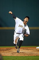 Bradenton Marauders relief pitcher Junior Lopez (52) during a game against the Palm Beach Cardinals on August 9, 2016 at McKechnie Field in Bradenton, Florida.  Palm Beach defeated Bradenton 8-7.  (Mike Janes/Four Seam Images)