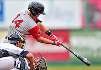 24 July 2010: Lowell Spinners outfielder Bryce Brentz connects against the Vermont Lake Monsters at Centennial Field in Burlington, Vermont. The Spinners defeated the Lake Monsters 11-5 in NY Penn League action. Mandatory Credit: Ed Wolfstein Photo
