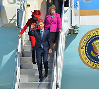 MIAMI, FL - FEBRUARY 25: U.S. President Barack Obama arrives on Air Force One at Miami International Airport  prior to his Immigration Town Hall meeting At FIU on February 25, 2015 in Miami, Florida<br /> <br /> People:  U.S. President Barack Obama, Frederica Wilson, Linda Sanchez
