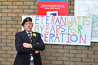 Pictured: Frederick Bevan who has been waiting 8 year for a hernia operation is protesting outside Morriston Hospital, Swansea, south Wales.<br /> Re: A Swansea army veteran who claims to have waited over eight years for a hernia operation has staged a three-pronged offensive.<br /> Frederick Bevan, of Orchard Court, Swansea, was first referred for surgery in 2006 but due to a series of unfortunate circumstances — including near fatal complications during a surgery attempt — he has yet to have the procedure.<br /> Now the 77-year-old former regimental goat major for the Royal Welch Regiment has written to the Prime Minister, started a petition and mounted a protest outside Morriston Hospital.<br /> In March a spokesman for Abertawe Bro Morgannwg University Health Board (ABMU) promised to be in contact to arrange an alternative date as soon as possible but he has heard nothing.