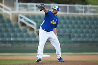 Mars Hill Lions relief pitcher Brad Dzeskewicz (36) in action against the Queens Royals at Intimidators Stadium on March 30, 2019 in Kannapolis, North Carolina. The Royals defeated the Bulldogs 11-6 in game one of a double-header. (Brian Westerholt/Four Seam Images)